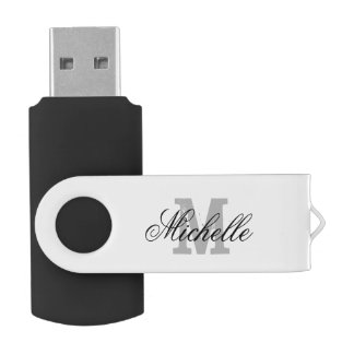Personalized name monogram USB flash drive Swivel USB 2.0 Flash Drive