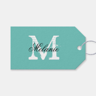 Personalized name monogram wedding favor gift tags