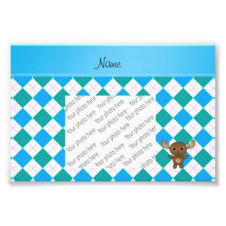 Personalized name moose green blue white argyle photo print