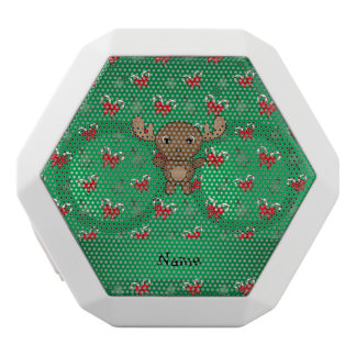 Personalized name moose green candy canes bows white boombot rex bluetooth speaker