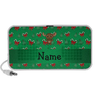 Personalized name moose green candy canes bows iPhone speaker
