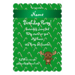 Personalized name moose green candy canes invites