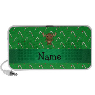 Personalized name moose green candy canes iPhone speaker