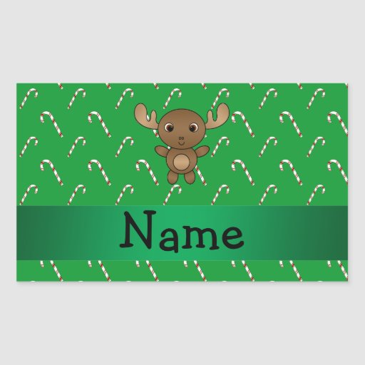 Personalized name moose green candy canes rectangle sticker