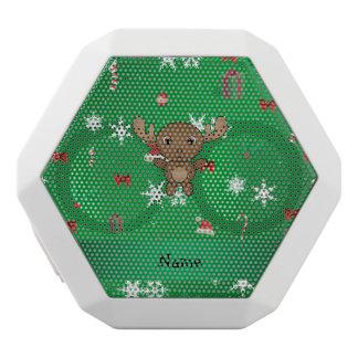 Personalized name moose green christmas pattern white boombot rex bluetooth speaker