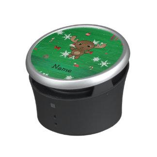 Personalized name moose green christmas pattern speaker