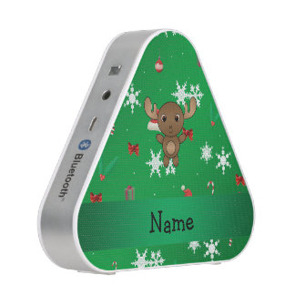 Personalized name moose green christmas pattern bluetooth speaker
