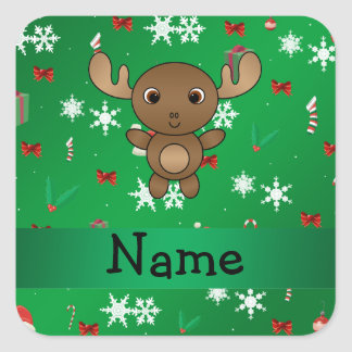 Personalized name moose green christmas pattern square sticker