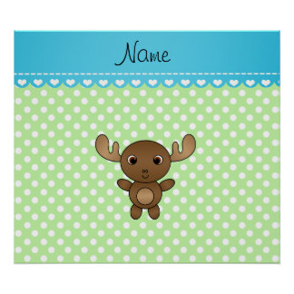 Personalized name moose green white dots poster