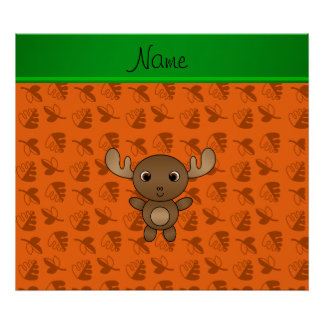Personalized name moose orange leaves poster