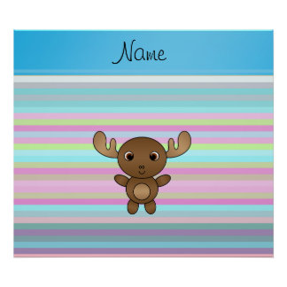 Personalized name moose pink blue stripes poster