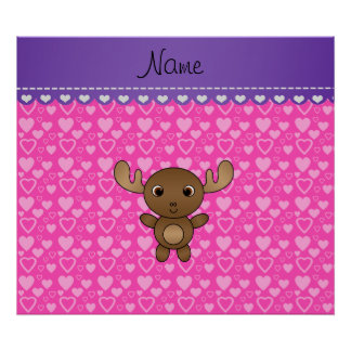 Personalized name moose pink hearts poster