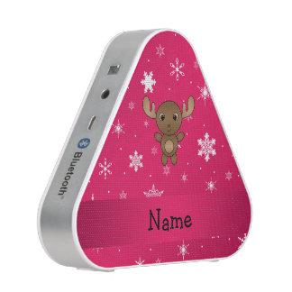 Personalized name moose pink snowflakes bluetooth speaker