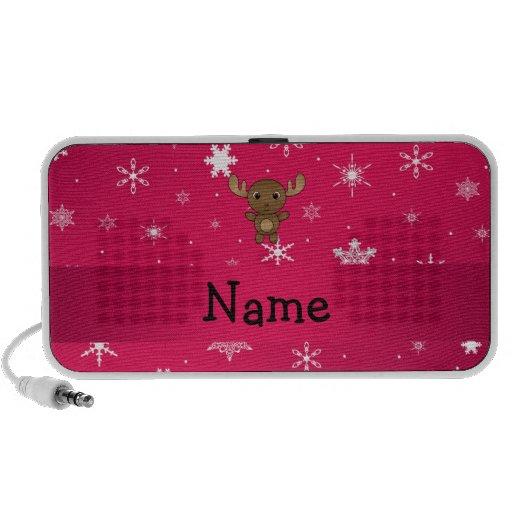 Personalized name moose pink snowflakes travel speaker