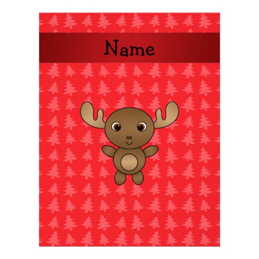 Personalized name moose red christmas trees customized letterhead