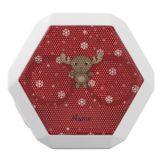 Personalized name moose red snowflakes white boombot rex bluetooth speaker