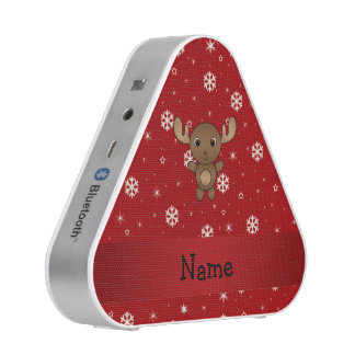 Personalized name moose red snowflakes speaker