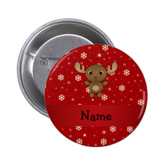 Personalized name moose red snowflakes pinback button