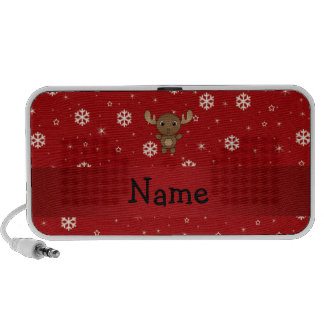 Personalized name moose red snowflakes iPod speakers