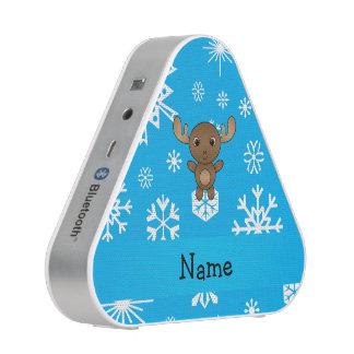 Personalized name moose sky blue snowflakes bluetooth speaker