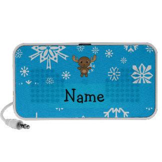 Personalized name moose sky blue snowflakes notebook speakers
