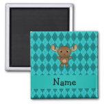 Personalized name moose turquoise argyle fridge magnets