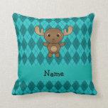 Personalized name moose turquoise argyle throw pillows