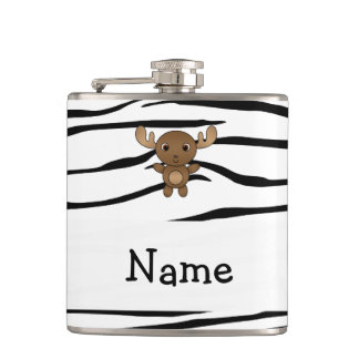 Personalized name moose zebra stripes hip flask