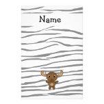 Personalized name moose zebra stripes stationery