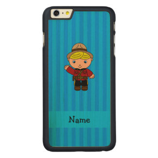 Personalized name mountie blue stripes carved® maple iPhone 6 plus slim case