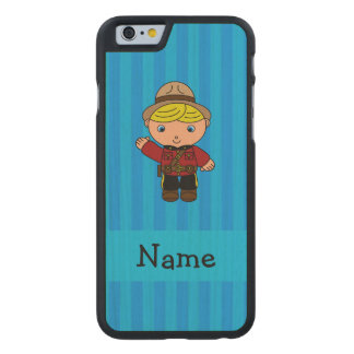 Personalized name mountie blue stripes carved® maple iPhone 6 slim case