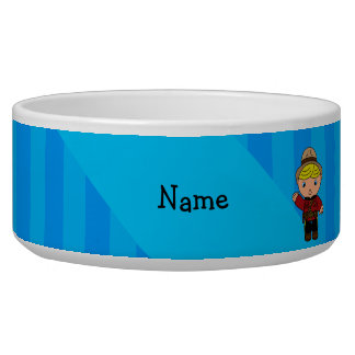 Personalized name mountie blue stripes dog bowls