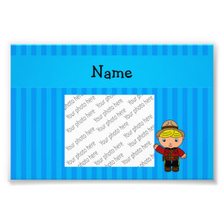 Personalized name mountie blue stripes photo print