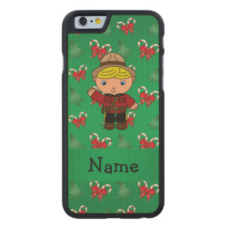Personalized name mountie green candy canes bows carved® maple iPhone 6 slim case