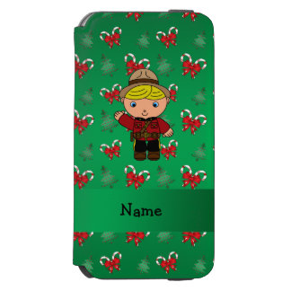 Personalized name mountie green candy canes bows incipio watson™ iPhone 6 wallet case