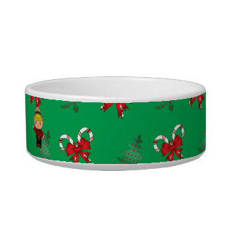 Personalized name mountie green candy canes bows cat water bowls