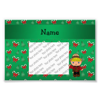 Personalized name mountie green candy canes bows photo print