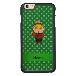 Personalized name mountie green polka dots carved® maple iPhone 6 plus case