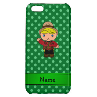 Personalized name mountie green polka dots case for iPhone 5C