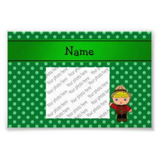 Personalized name mountie green polka dots photo print