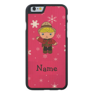 Personalized name mountie pink snowflakes carved® maple iPhone 6 slim case
