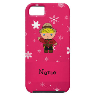 Personalized name mountie pink snowflakes iPhone 5 cover