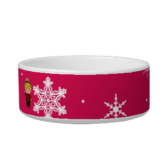 Personalized name mountie pink snowflakes cat water bowl