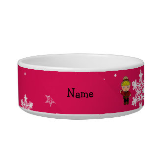 Personalized name mountie pink snowflakes pet food bowls