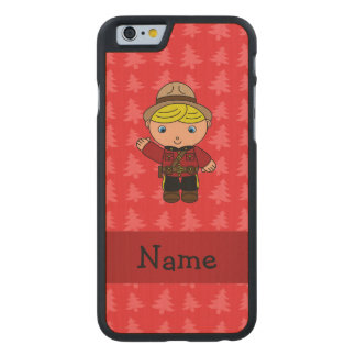 Personalized name mountie red christmas trees carved® maple iPhone 6 case