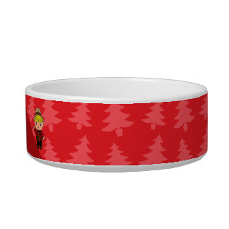 Personalized name mountie red christmas trees cat bowl