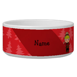 Personalized name mountie red christmas trees pet bowls