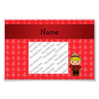 Personalized name mountie red christmas trees photo print