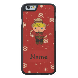 Personalized name mountie red snowflakes carved® maple iPhone 6 case