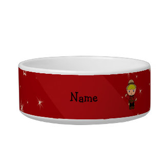 Personalized name mountie red snowflakes cat bowl